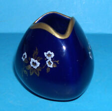 Vintage Lindner Hand Made Blue Floral Posy / Small Vase with Gilding. (M.Marks).
