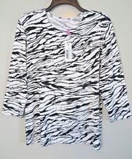 NWT Leggiadro White w/Black Zebra Print 3/4 Sleeve Tee Top Size 4 Made in NYC