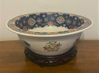 Antique Signed Chinese Porcelain Goldfish Centerpiece Bowl & Stand - 16""