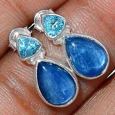 Kyanite - Brazil & Blue Topaz 925 Sterling Silver Earrings Jewelry AE164304