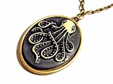 OCTOPUS & SKULL CAMEO NECKLACE black bronze pendant Steampunk Cthulhu pirate 3F
