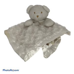 💕Blankets & Beyond Lovey Security Plush Teddy Bear White Gray Bow Swirl Rosette