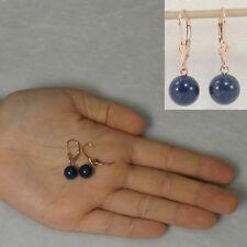 14k Rose Solid Gold Leverback 8mm Blue Lapis Lazuli Bead Dangle Earrings TPJ