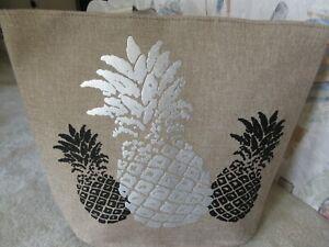 Women's Jumbo Summer Beach Tote Bag With Foil Print Silver/ Black Pineapple NWT