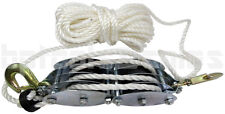 2 Ton Poly Rope Hoist Block & Tackle Pulley Wheel Poly Wild Game Hanger 65' Rope
