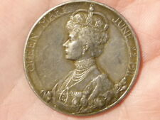 1911 George V Coronation Silver Medal 30mm Queen Mary rev   #R29