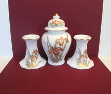 """Porcelain """"Iris"""" Ginger Jar and Matching Candle Holders, Japan"""