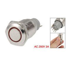 5x(Interruttore a Pulsante in Metallo con LED Rosso 16mm 12V 3A per Auto