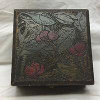 Vintage Ornate Cherry Design Glove Wood Box Burnt McHenry's Trinket Box
