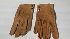 *DESIGNER LADIES TAUPE PERFORATED SUEDE GLOVES UNLINED SIZE 7.5