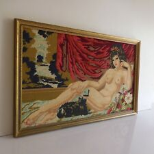 Tapisserie canevas canvas tapestry nu féminin nude female fait main XXe France