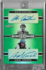 2018 LEAF METAL HEROES ANGEL CORDERO / STEVE CAUTHEN GREEN AUTOGRAPH CARD ~ 1/3
