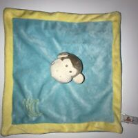 Blue Yellow Monkey Lovey Blankie Baby Kids Security Blanket Lovie Unipak banana