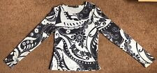 Vtg 90s-Eyeshadow Abstract Floral White/Black/Gray L/S Stretch Top (Jrs Sz M)