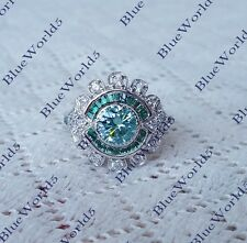 Art Deco Round Cut Blue Moissanite Engagement Ring 925 Sterling Silver