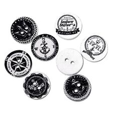 Black White Marine style Wood Buttons Scrapbooking Sewing Accessories Crafts 15m