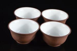 P6221: Chinese Brown pottery Shapely TEA CUP Senchawan 4pcs, auto Tea Ceremony
