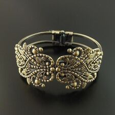 Lot of (x2) Antique Style Bronze Brass Floral Graceful Bracelet Cuff Bangle