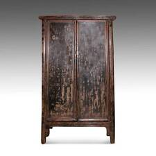 FINE ANTIQUE CHINESE SHANXI LACQUERED ELM WOOD CABINET WARDROBE LATE 18TH C