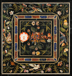 Marble Black Conference Dining Table Top Pietra Dura Inlay Marquetry Decor E1612