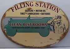 Filling Station Clean Restrooms Oval Metal Sign