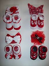 Stepping Stone Crib Shoes Booties Sock Headwrap Baby Valentine New
