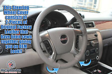 2007 2008 GMC Sierra 1500 SLT Denali SLE Z71 -Leather Steering Wheel Cover Gray