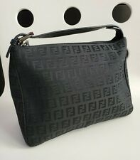 Vintage Fendi Black Nylon w/Leather Black Shoulder Bag/Purse/Handbag