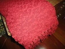 PIER 1 CHENILLE BOUCLE' RED FRINGED THROW BLANKET 55 X 65