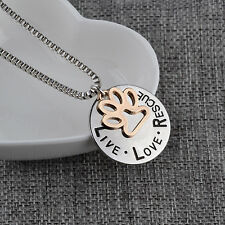 Live Love Rescue with Paw Pendant Necklace