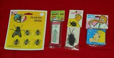 vintage MAGIC TRICKS & GAGS LOT plastic bugs fake cockroach snappy gum matchbook