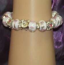 New 925 Sterling Silver Filled, White & Pink Crystal Fashion Charm Bracelet
