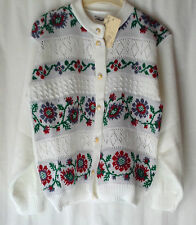 NEW  LADIES ACRYLIC FLORAL PATTERN BUTTON UP KNITTED CARDIGAN *21 COLOURS*