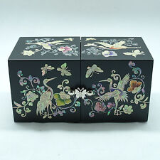 Big size Black jewelry box inlaid with mother of pearl 4 drawers ivy pattern