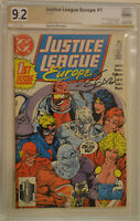 JUSTICE LEAGUE EUROPE #1 (1989 | DC) PGX Signed Series 9.2 (NM-) Bart Sears