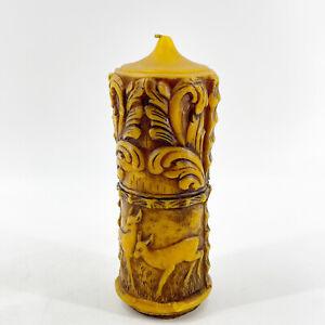 Vintage German Carved Sculpted Embossed Raised Wax Pillar Candle Deer Unlit