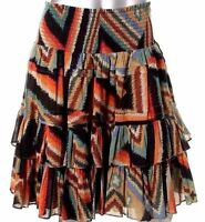 $98 NWT Ralph Lauren Indian Southwestern Tribal Layered Flare Ruffle Skirt 4 14