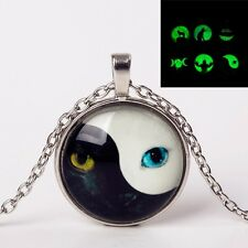 GLOW IN THE DARK YIN YANG CAT EYE PENDANT NECKLACE Jewellery Gift Idea Luminous