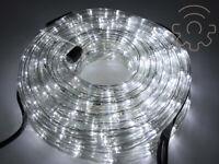 Tubo luminoso a led di Natale bianco ghiaccio 10 mt 8 giochi luci per esterno e