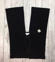 NWT Women's Worthington Black Velour Stretchy Elastic Waist Pants-Size 6