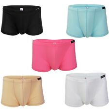 Men G-String Bikini Lingerie Underwear Ice Silk Boxer Briefs Penis Hole Shorts