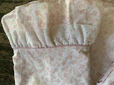 PRETTY TWIN LAURA ASHLEY PINK&WHITE RUFFLE SHEET+2 CASES