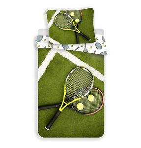 100% Cotton Duvet Cover Pillowcase Set Single Quilt Tennis Sport Bedding