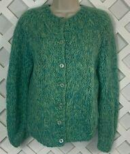 Vintage Wool Mohair Blend Cardigan Sweater Womens S Handmade Italy Blue Green