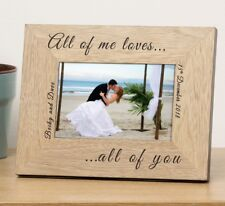 Personalised Formal 6x4 Wooden Photo Frame Wedding Anniversary All of Me Loves