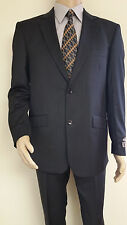 Men's Premium Quality Fancy Stripe Modern Fit Dress Suits All Black New 38R