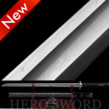 Damascus Folded Steel Japanese samurai sword Big Single Groove Ninja Real Combat