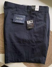 Izod Metrix Fit Microfiber Men Size 46W Shorts Solid Navy Blue Easy Care Pleated