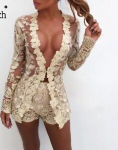 GOLD embroidered Co Ord Set 2 Piece shorts blazer crochet lace jacket 8 10