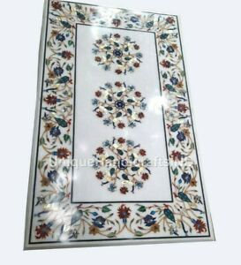 Rectangular Ancient Italy Inlaid Floral Inlay Handmade Art Coffee Table Top Arts